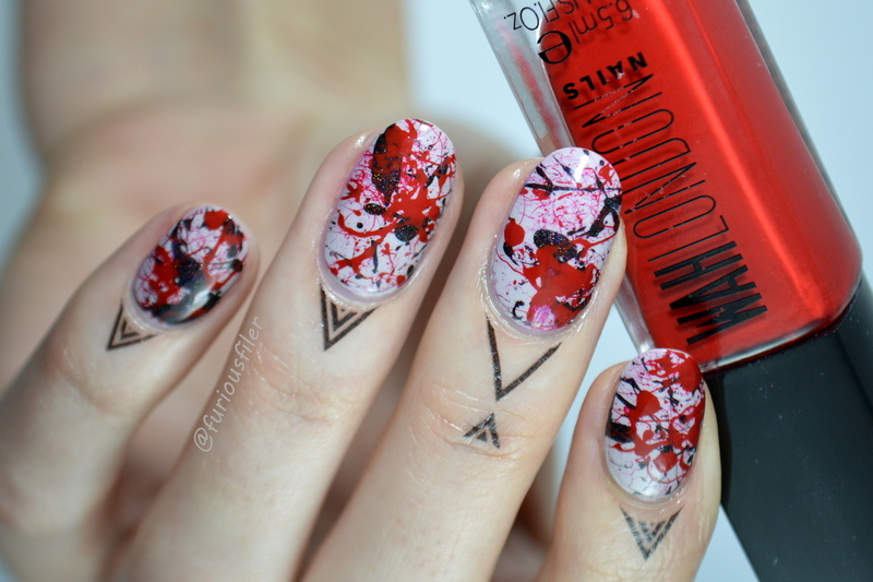 Splatter Nail Art nail art by Furious Filer