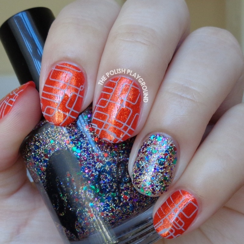 Golden Red Orange with Blue Lines Stamping nail art by Lisa N