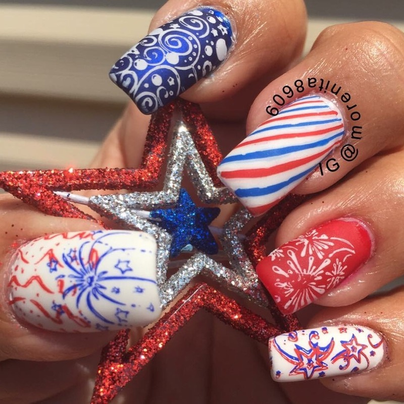 My Red White & Blue Design nail art by Morenita  Morena