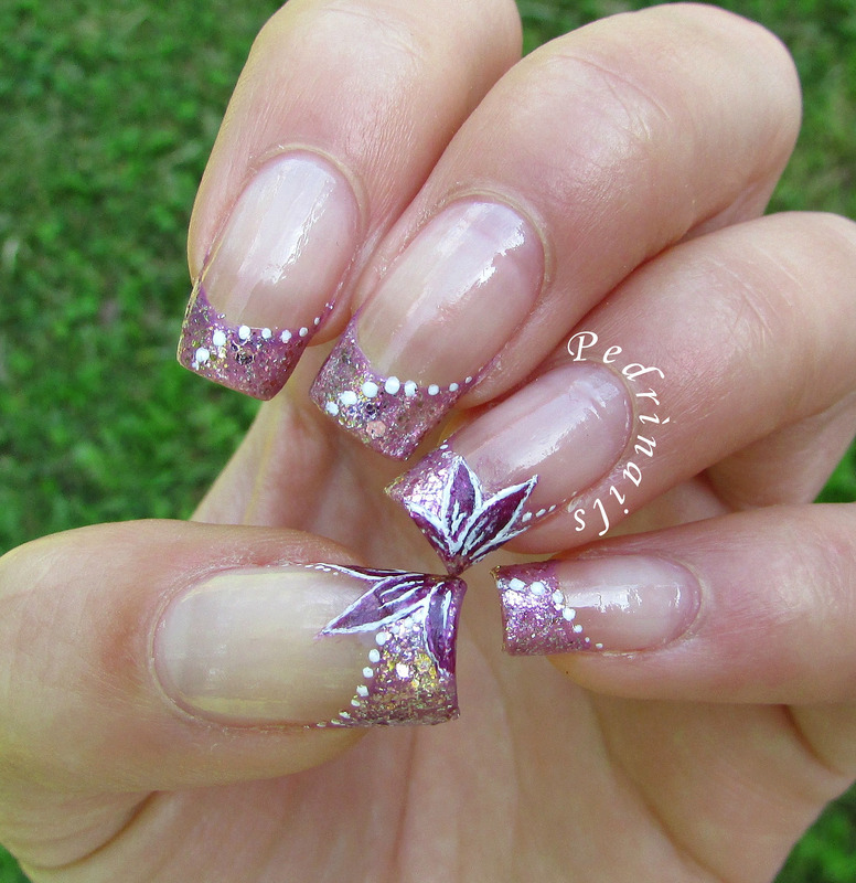 Million brilliance french manicure with floral decorations nail art by Pedrinails