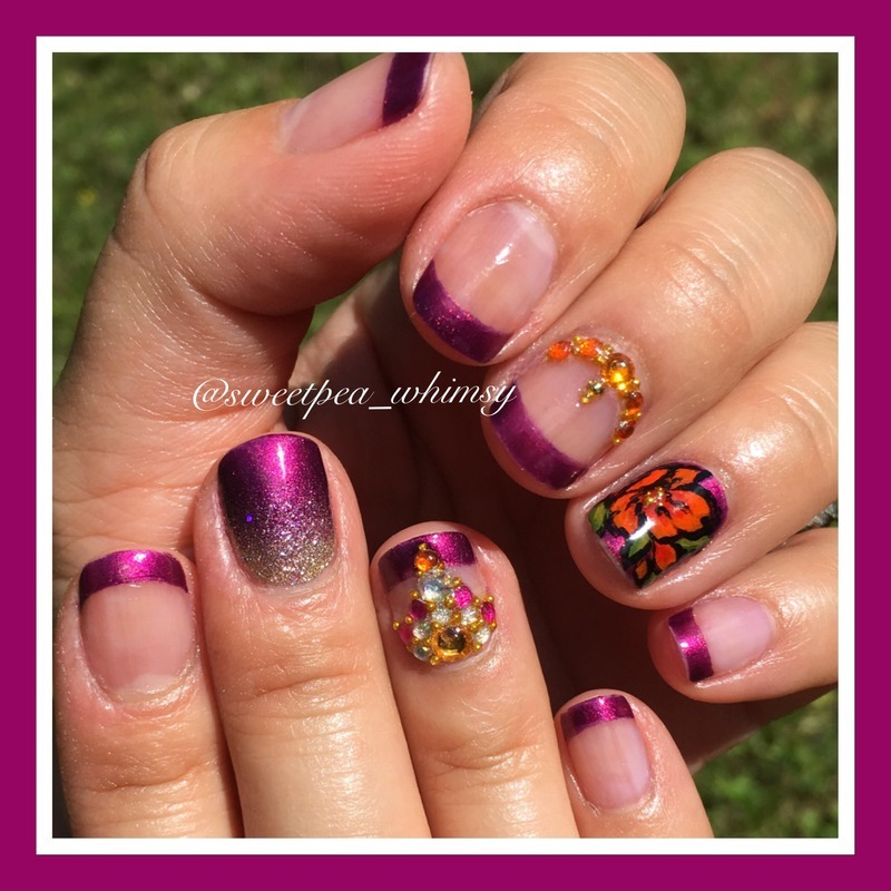 Purple French Manicure with Floral nail art by SweetPea_Whimsy