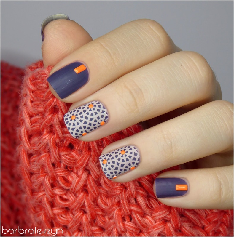 Purple and orange nail art by barbrafeszyn
