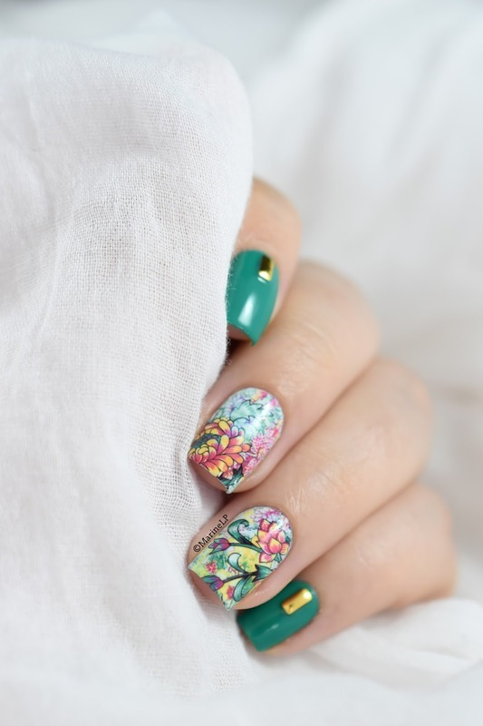 Studs x flowers nail art by Marine Loves Polish