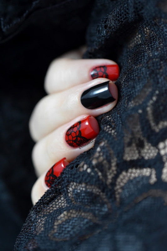 Burlesque lace nail art by Marine Loves Polish