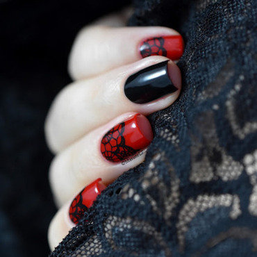 Red black lace nail art 20 3  thumb370f