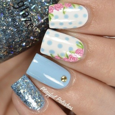 Floral Polka Dot nail art by Playful Polishes