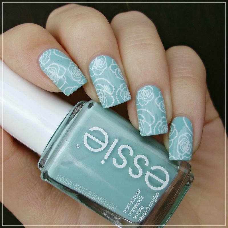 Mint roses nail art by Sanela