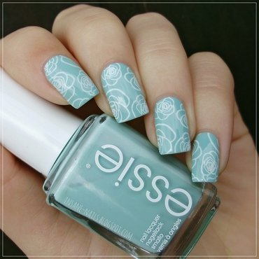 Mint roses nail art by Sanela