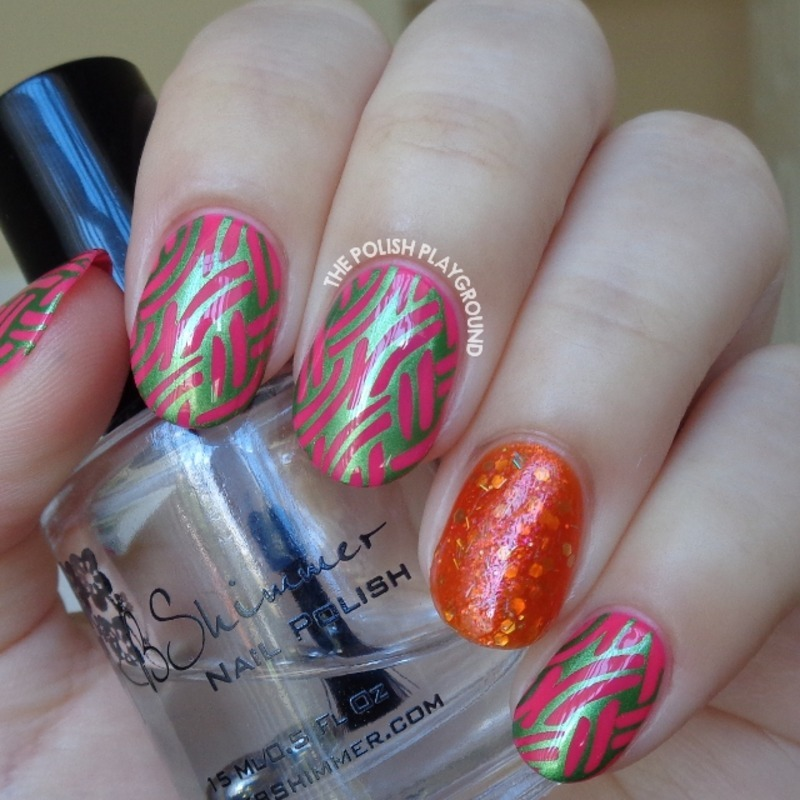 Pink with Green Shimmer Braided Pattern Stamping nail art by Lisa N