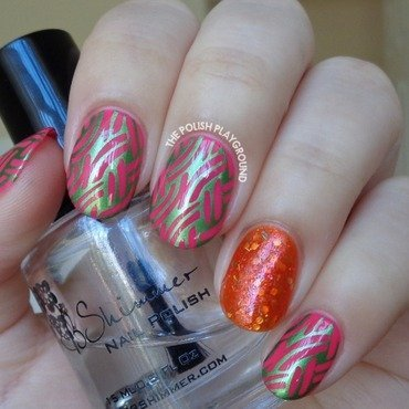 Pink 20with 20green 20shimmer 20braided 20pattern 20stamping 20nail 20art thumb370f