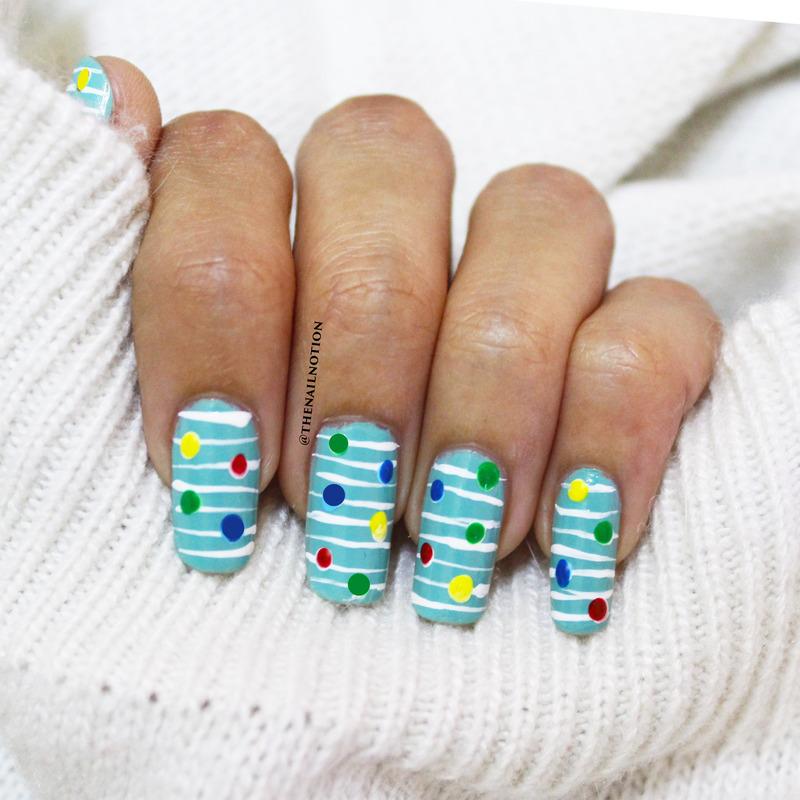 Mis-Matched Lines and Dots Nail Art nail art by Letisha  Fernandes