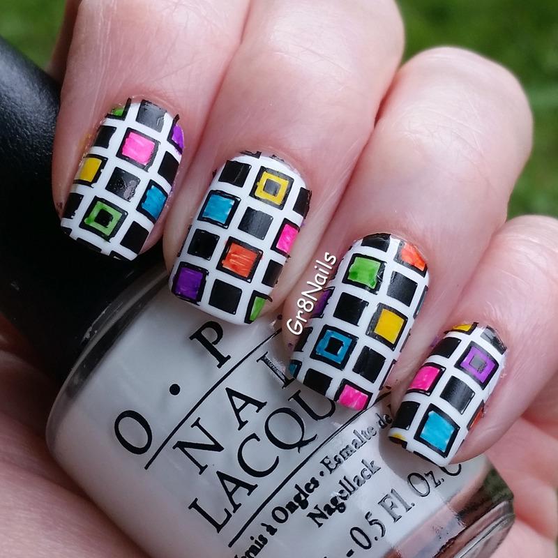 Colored Blocks nail art by Gr8Nails
