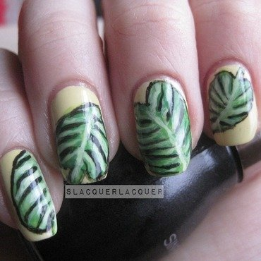Elephant Ear Leaves nail art by Tina