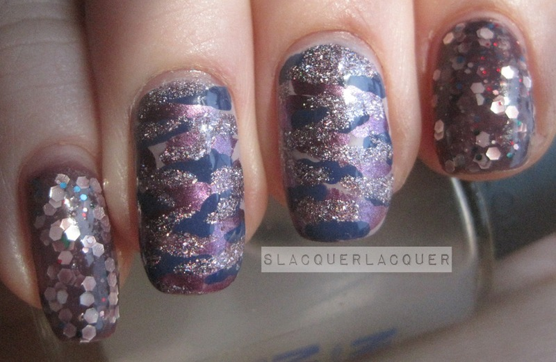 Purple Camouflage nail art by Tina
