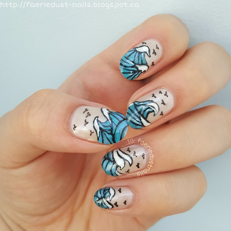 Waves nail art by Shirley X.