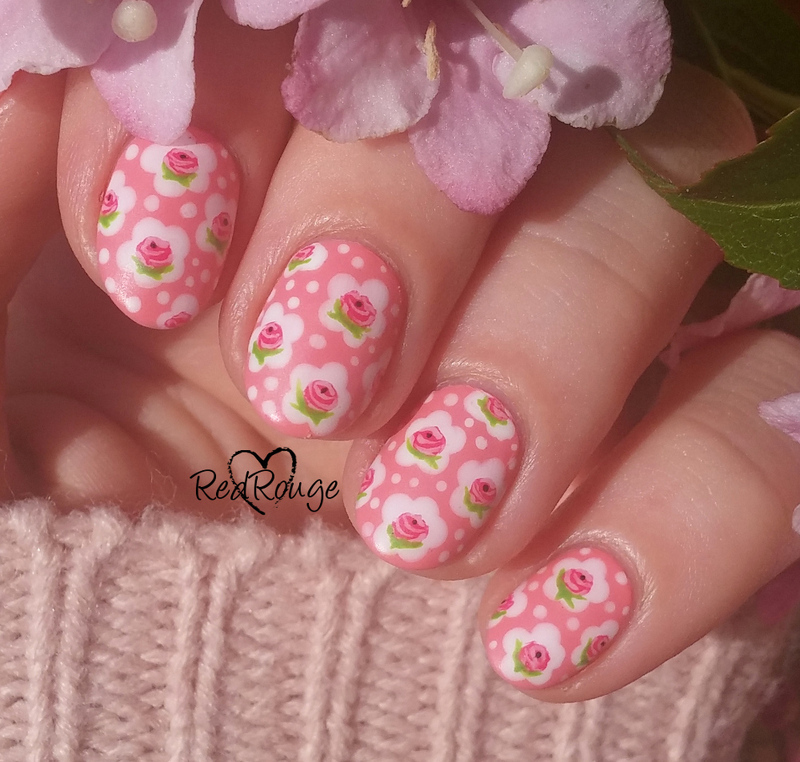 Hand painted roses design nail art by RedRouge