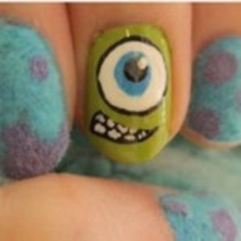 Dont blink, its monsters inc nail art by Teana Jones