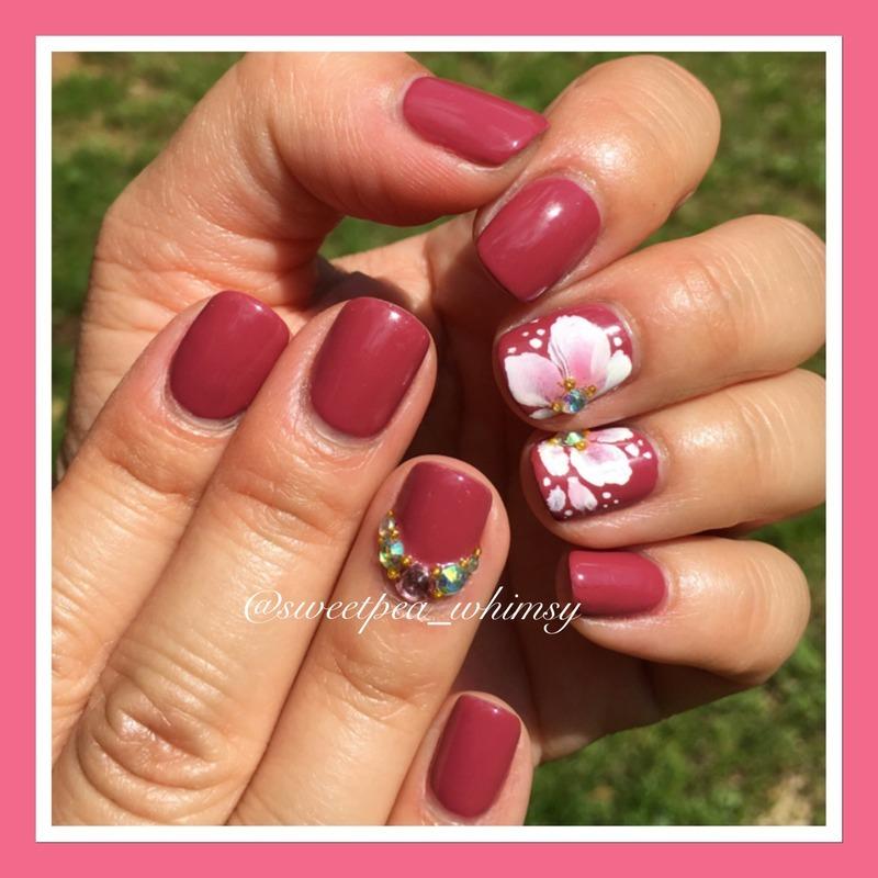 White One Stroke Flower nail art by SweetPea_Whimsy
