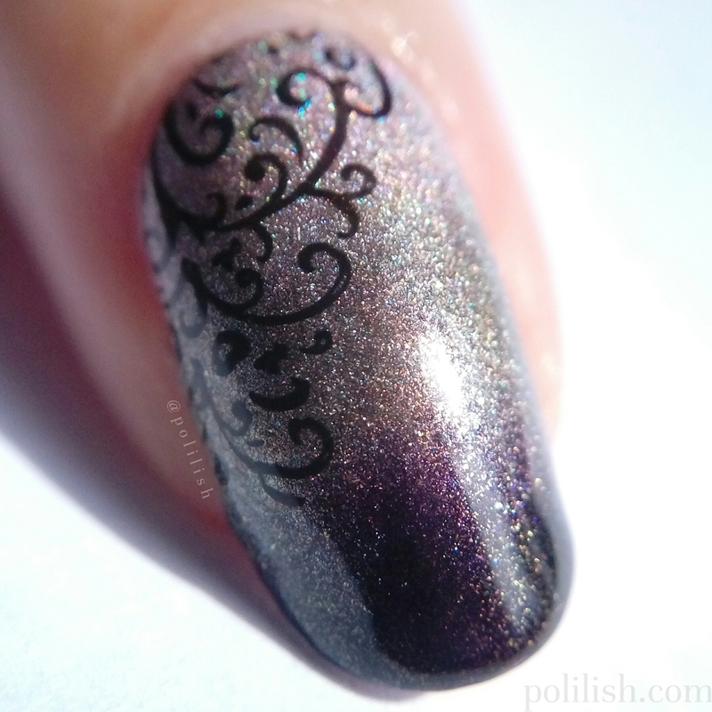 Gradient + delicate stamping (macro) nail art by polilish