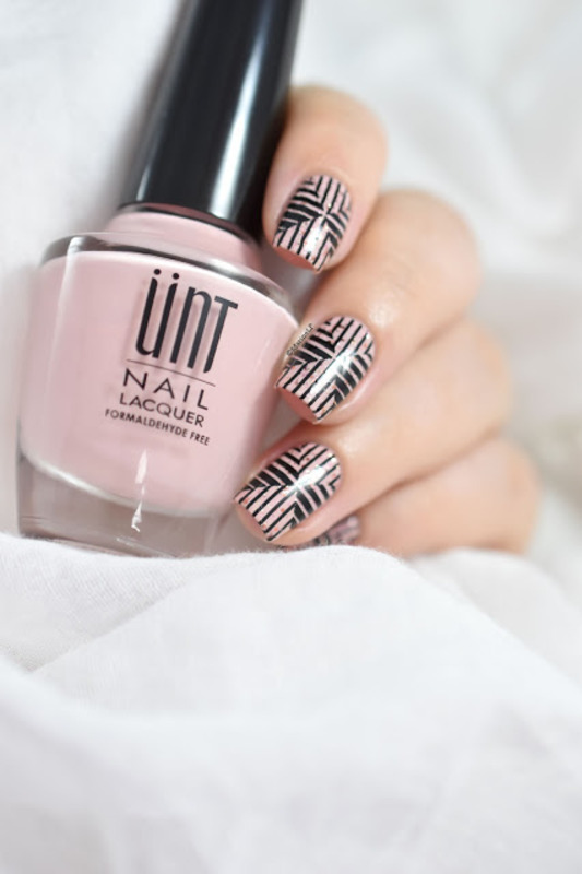 Pink & graphic nail art by Marine Loves Polish