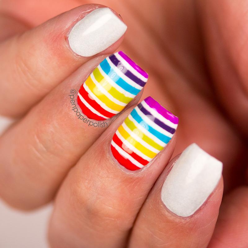 Rainbow Stripes nail art by Misty