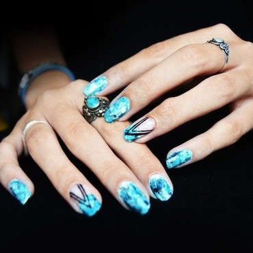 Turquoise Stone nail art by i-am-nail-art