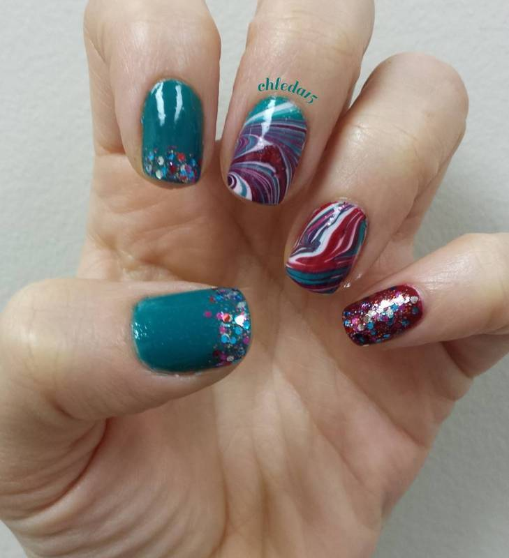 Blue, White & Maroon Lagoon nail art by chleda15