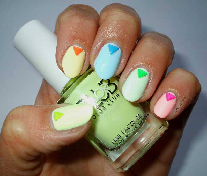 Pastel neons nail art by only real nails.