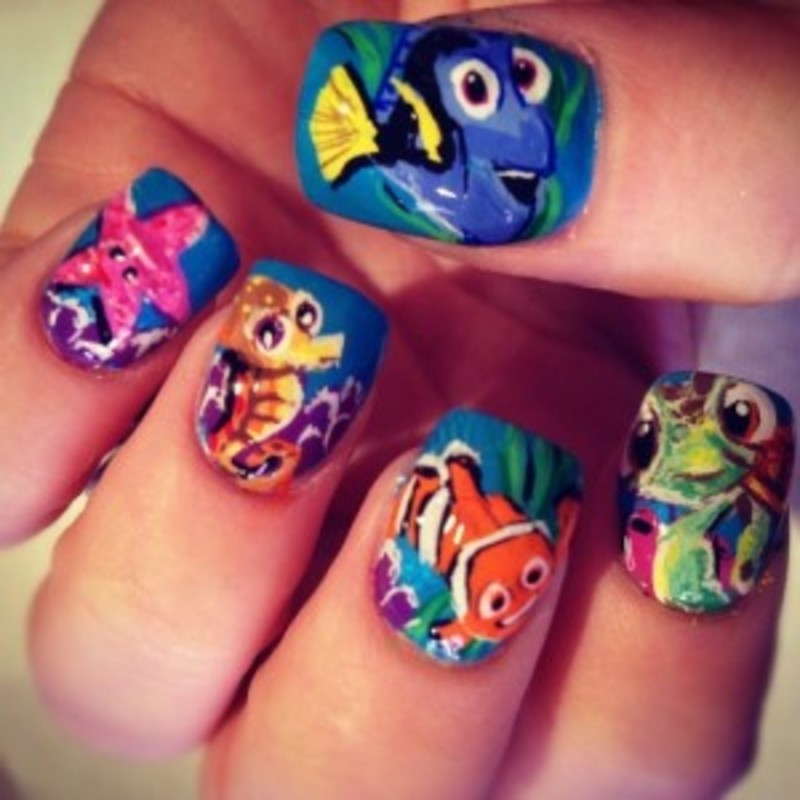 Finding Nemo nail art by Macie