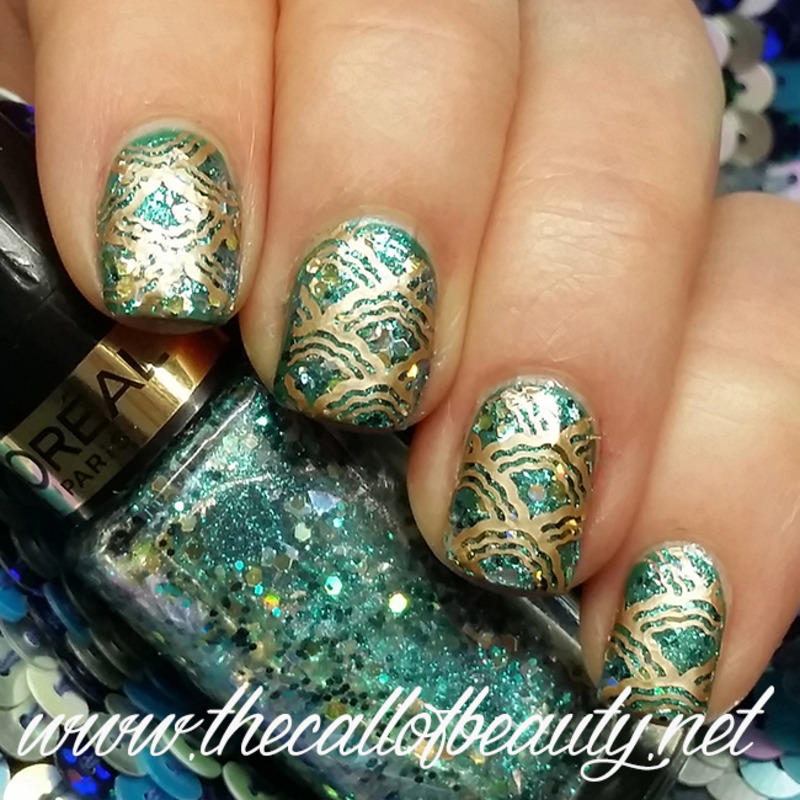 Emerald MErmaid nail art by The Call of Beauty