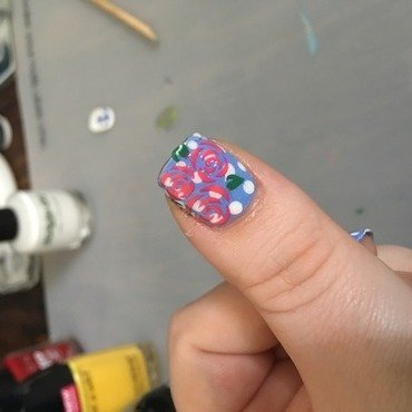 Dotted Rose nail art by Ilze