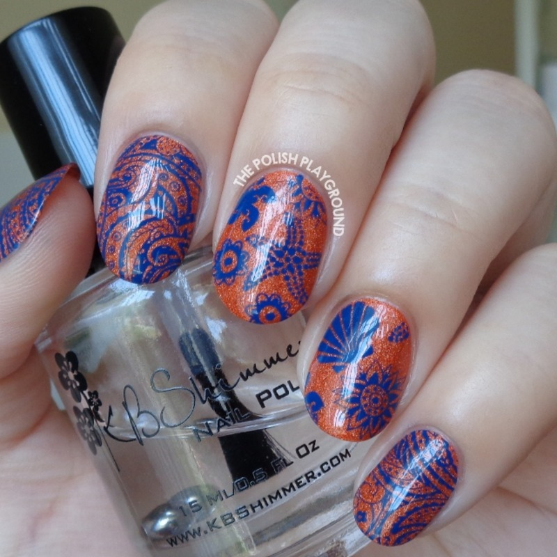 Orange Holo and Dark Blue Beach Themed Stamping nail art by Lisa N