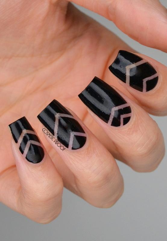 Negative Space Chevrons nail art by Jayne