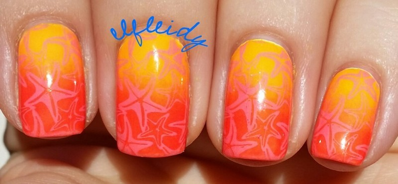 Gradient starfish nail art by Jenette Maitland-Tomblin