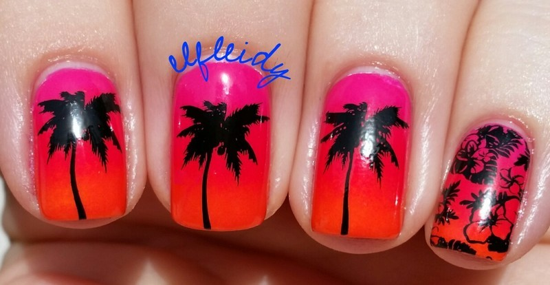 Tropical gradient nail art by Jenette Maitland-Tomblin