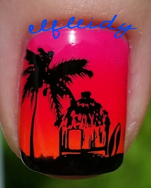 Tropical gradient- thumb nail art by Jenette Maitland-Tomblin