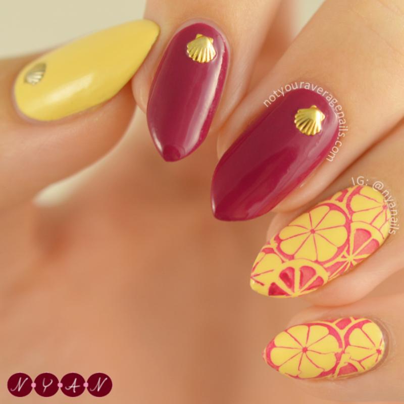 Summer Citrus nail art by Becca (nyanails)