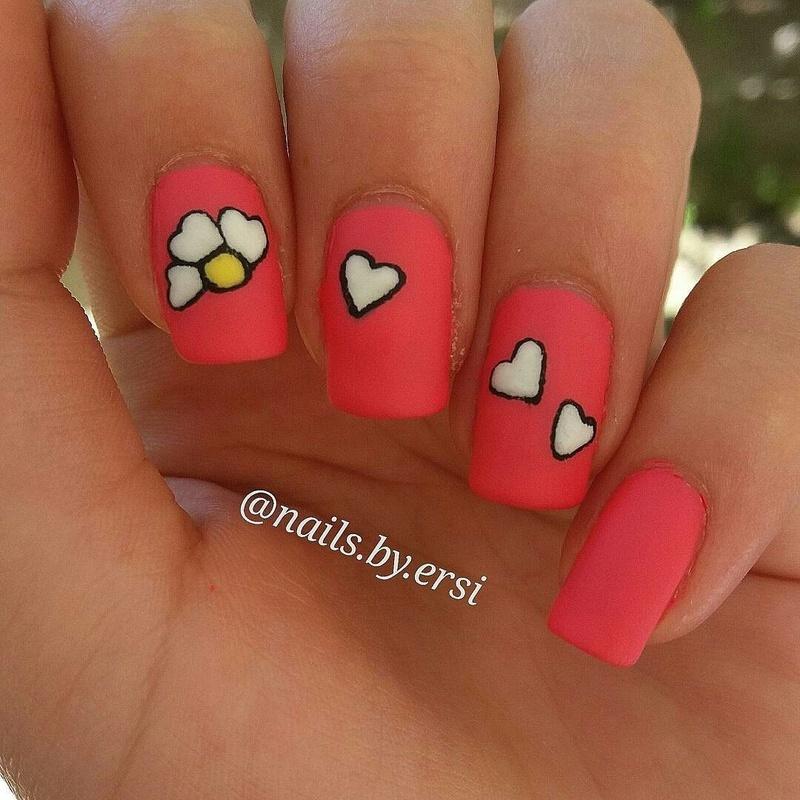 Matte Flowers nail art by NailsByErsi