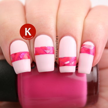 Pink mosaic stripes nail art by Claire Kerr