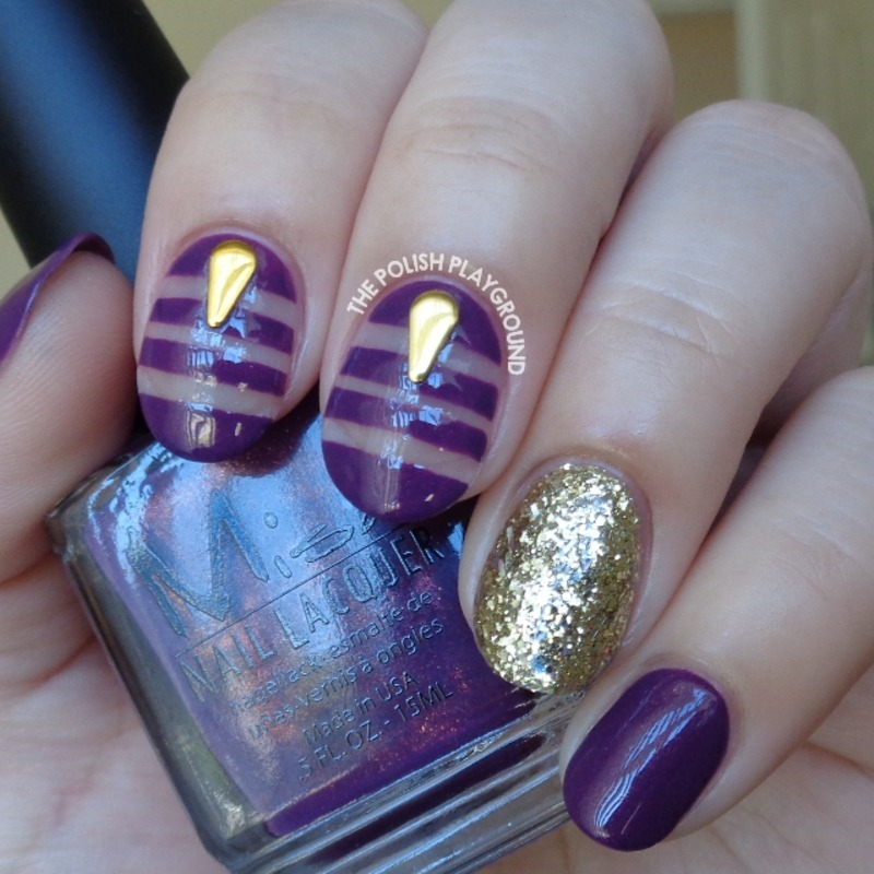 Purple and Gold Negative Space Nail Art nail art by Lisa N