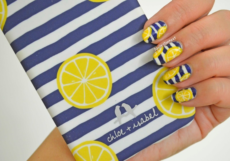 Navy Stripes and Lemons nail art by NailsContext