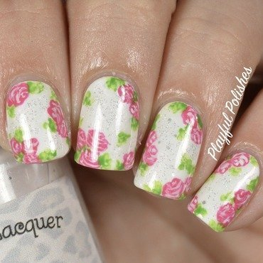 Floral Glitter Nail Art nail art by Playful Polishes