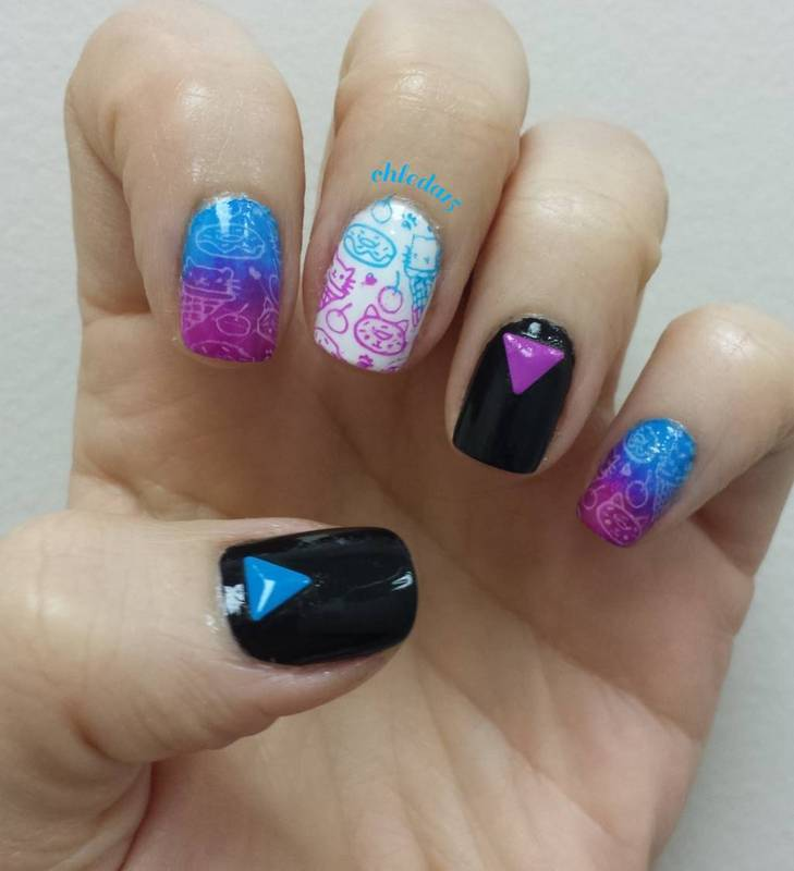 Kitty Cat Desserts nail art by chleda15