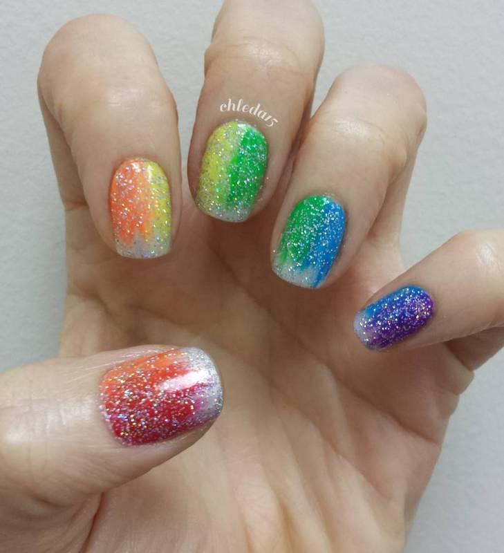 Rainbow Streaks nail art by chleda15