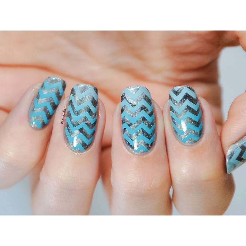 Magnetic chevrons nail art by Love Nails Etc