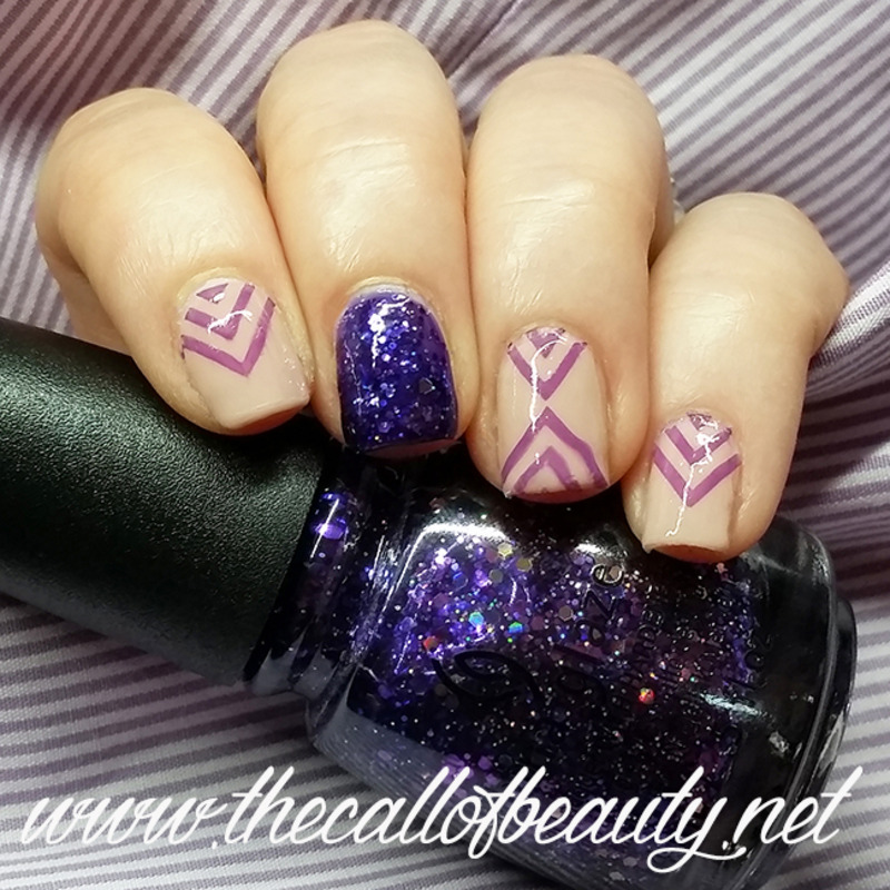 Purple Negative Space nail art by The Call of Beauty