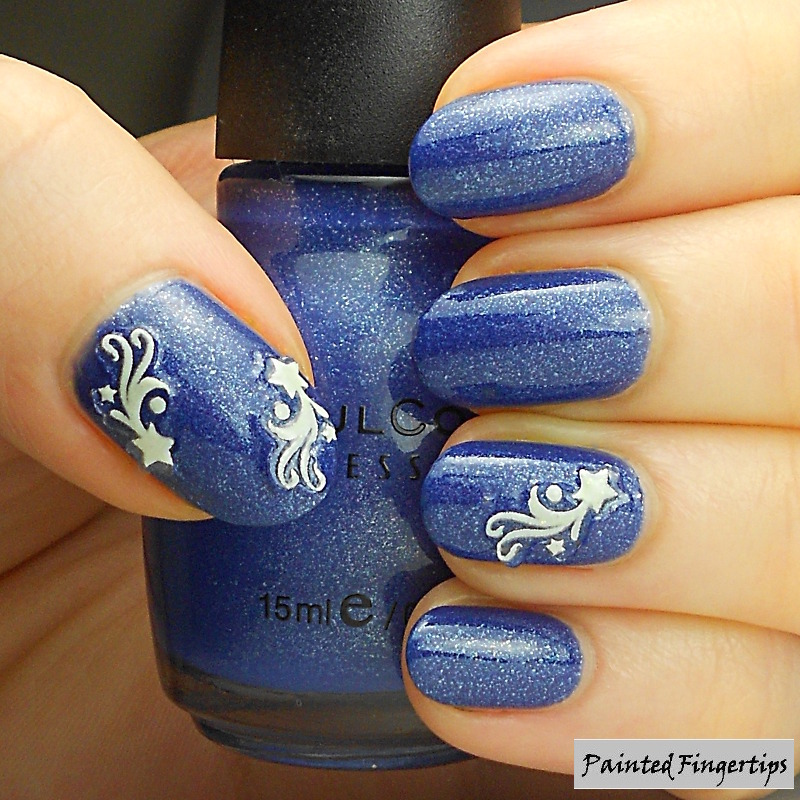 Stars and Neptune nail art by Kerry_Fingertips