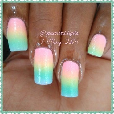 Pastel Rainbow Gradient nail art by Painted Digits