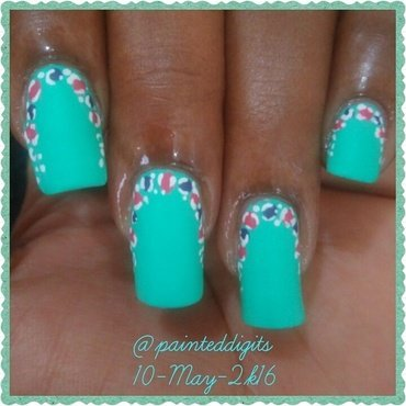 Turquoise with Pink and Purple Animal Print Ruffian nail art by Painted Digits