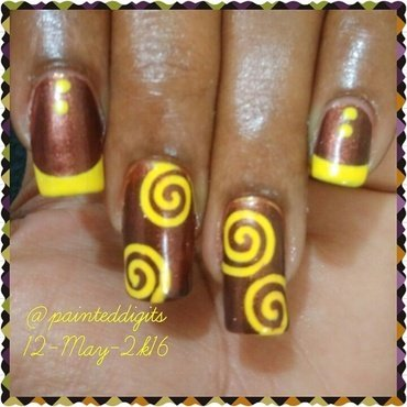 Brown & Yellow Swirls nail art by Painted Digits